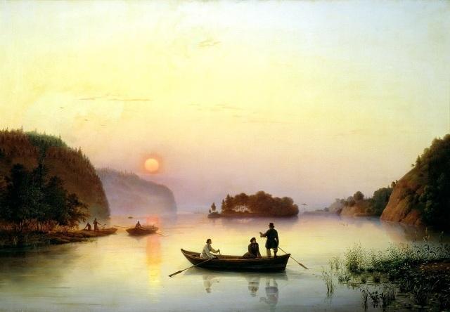 Gógol cruzando el Dnieper, por A. Ivanov (1845).
