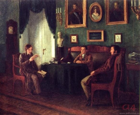 Gogol_and_Zhukovsky_at_Pushkin's_in_Tsarskoe_selo_by_P._Geller_(1910)