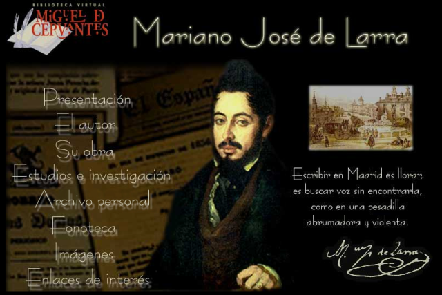 Portada de la web que la Biblioteca Virtual Cervantes dedica a Larra