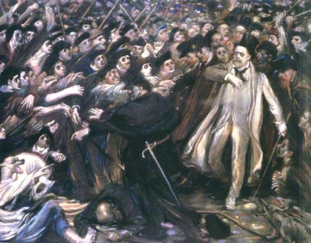 El ultraje de Zola, tela al óleo de Henry de Groux, 1898.