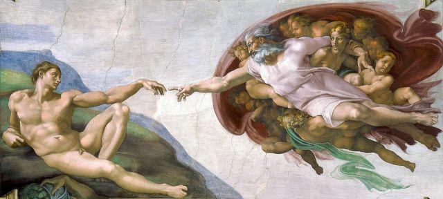 Creación de Adán, por Miguel Angel (Capilla Sixtina)