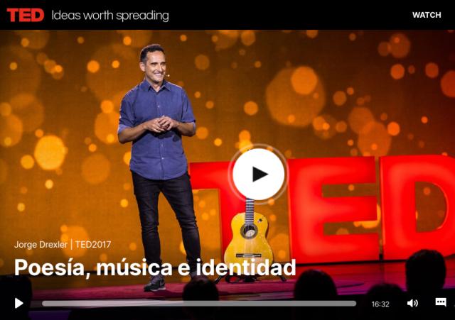 """Jorge Drexler en la charla Ted """"Poesía, música e identidad"""""""
